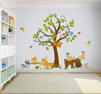Wandtattoo Kinder Babyzimmer Aufkleber Eule Eulen Wandsticker Wand Waldtiere Kinderzimmer Wandaufkleber Dekoration Furs Baby Kindergarten Baum Tiere