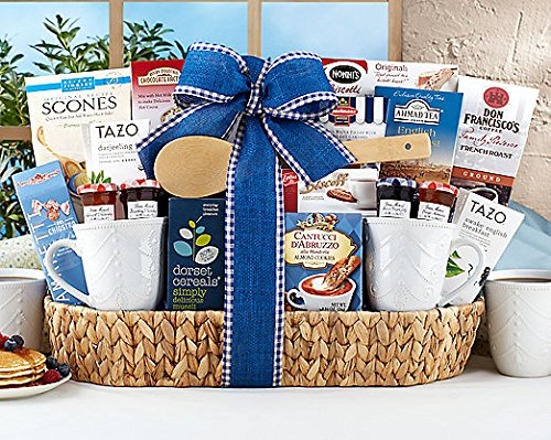 Gourmet Foods Gift Baskets, Good Morning Breakfast Assortment, This Breakfast Tray Is Brimming with Don Francisco's French Roast Coffee, Dark Chocolate Wafer Cookies, Rocky Mountain Chocolate Factory Milk Chocolate Hot Cocoa, Amaretti Cookies, Sticky Fing by NuCreation