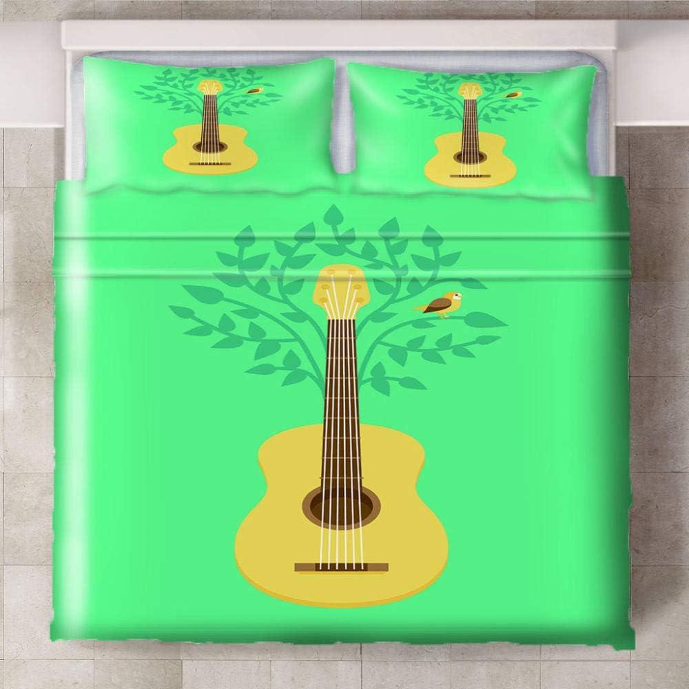 Teqoasiy - Funda Nórdica De Edredón King Size - 3D Verde Amarillo Guitarra Hojas 200x200cm Funda Nórdica De Tres Piezas - De Ropa De Cama Con 2 Fundas De Almohada King - Chico Niña Cuarto De Los Niños