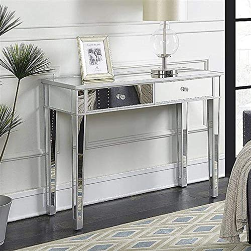 Goujxcy Mirrored Makeup Table Desk,Home Office Smooth Silver Finish Vanity Dressing Table for Women with 2 Drawers Writing Desk Modern Media Console Table