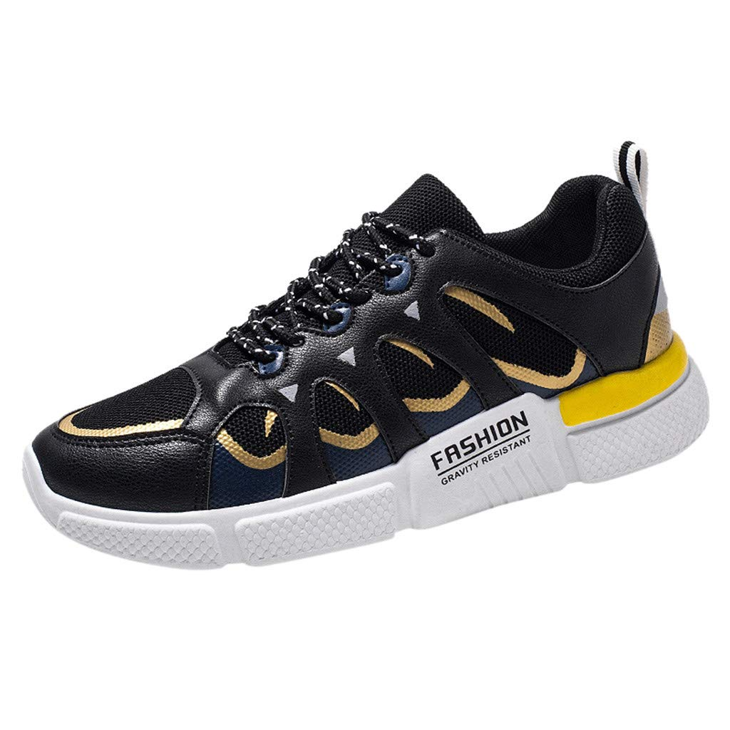 Men Running Sneakers Color Matching Low-Top Lace-up Student Breathable Mesh Casual Shoes Jogging Shoes
