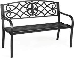 Giantex 50inch Patio Garden Bench, Heavy-Duty Metal Park Bench, Powder Coated Cast Iron Steel Frame, Outdoor Loveseat with Pattern Backrest for Garden Backyard Lawn Porch Path