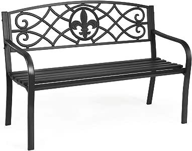 Giantex 50inch Patio Garden Bench, Heavy-Duty Metal Park Bench, Powder Coated Cast Iron Steel Frame, Outdoor Loveseat with Pattern Backrest for Garden Backyard Lawn Porch Path