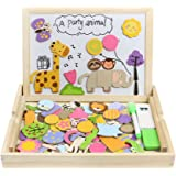 Akokie Wooden Jigsaw Puzzles Forest Animals Double Sided Magnetic Wooden Drawing Board with Gift Package for Children 3 Years Old (123 PCS)