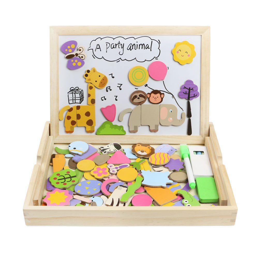 Wooden Drawing Board Game Magnetic Jigsaw Puzzles Double Sided Magnetic Drawing Board for Kids over 3 Years Old,Random Delivery