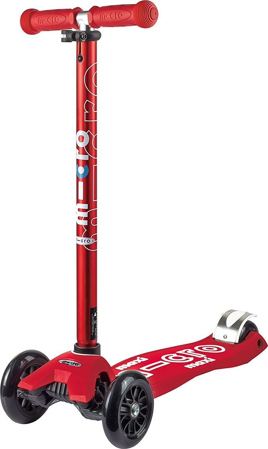 Micro Maxi Deluxe 3-Wheeled, Lean-to-Steer, Swiss-Designed Micro Scooter for Kids, Ages 5-12 - Red