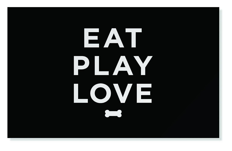 "FRINGE STUDIO Eat Play Love Pet Mat, 21 x 13"""