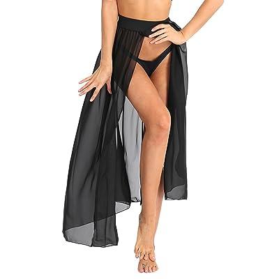 ACSUSS Women's Summer Sheer Mesh Ankle Length Beach Double Side Slit Maxi Skirt at Women's Clothing store