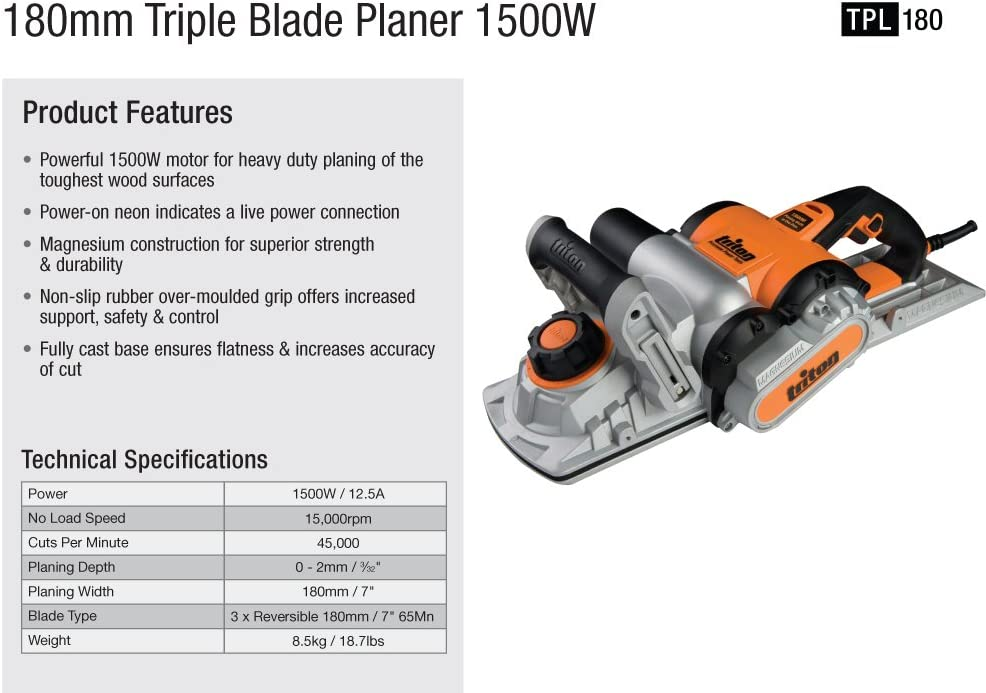 Triton TPL180 Electric Hand Planers product image 4