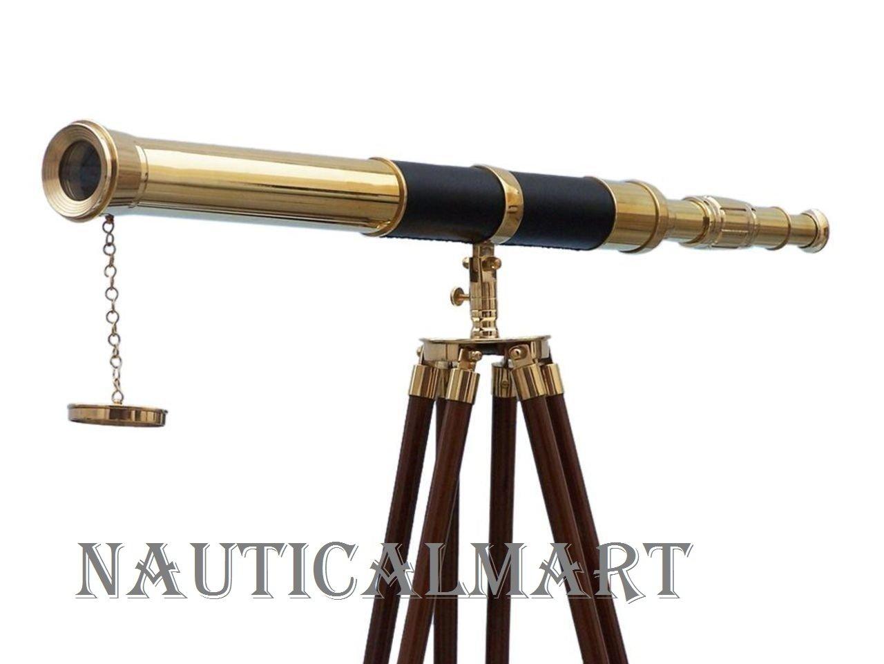 Nautical Floor Standing Brass - Leather Admiral Telescope 60'' - Nautical Home Decor - Vintage Brass Telescope