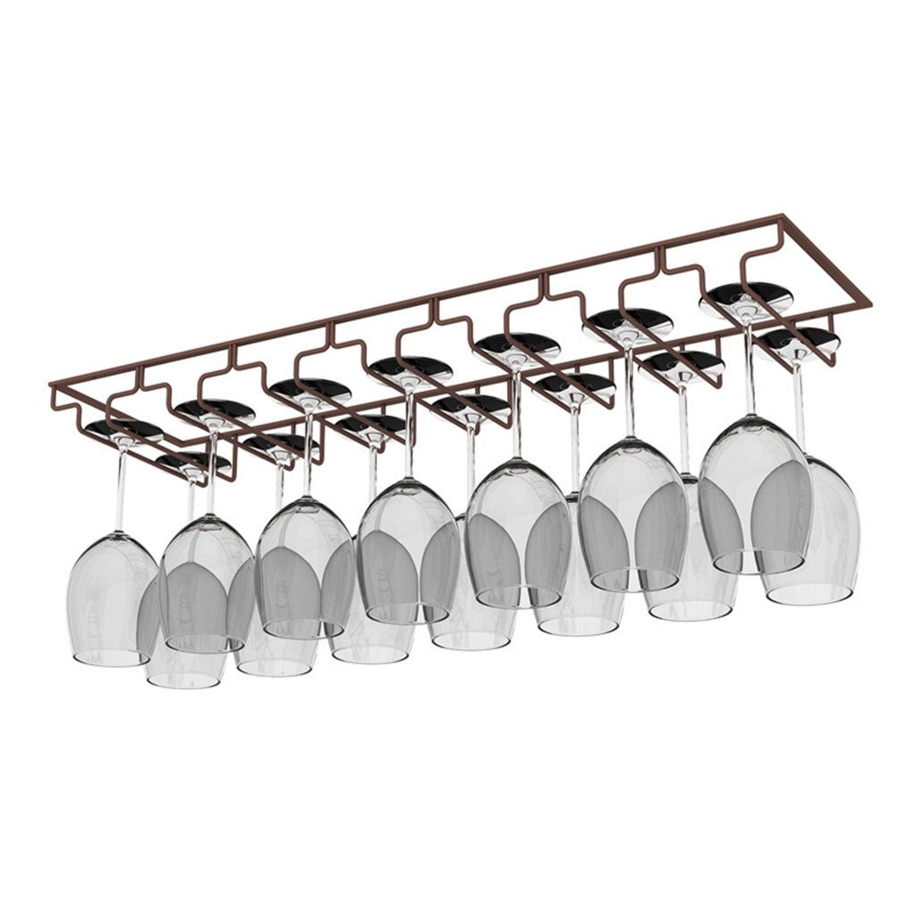 Nclon Stainless steel Stemware racks Upside down hanging cup Wine cup rack Wine glass rack Antirust-3 Row-black 3122.5cm