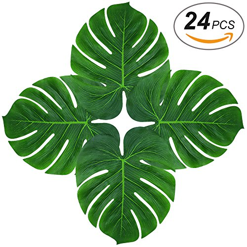 Mat Green Island Decor (Soyee 24pcs Tropical Large Palm Leaves, DIY Waterproof Artificial Leaf Placemats and Table Runners for Hawaiian Luau Party Decoration, Jungle Party Supply)