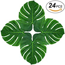 Soyee 24pcs Tropical Large Palm Leaves, DIY Waterproof Artificial Leaf Placemats Table Runners Hawaiian Luau Party Decoration, Jungle Party Supply