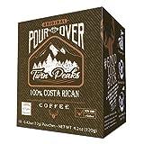 Twin Peaks Premium 100% All Natural Single Serve Pour Over Costa Rican Arabica Coffee, Non GMO, 10 12 gram pouch