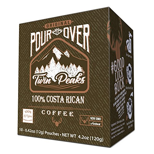 Twin Peaks Premium 100% All Natural Single Serve Pour Over Costa Rican Arabica Coffee, Non GMO, 10 12 gram pouch (Peaks Coffee Twin)