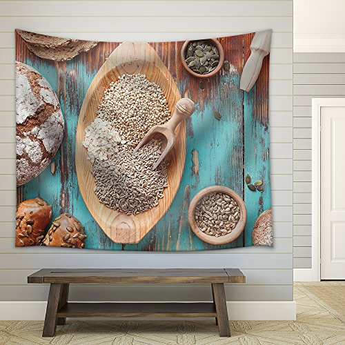 Grain Breads and Cereals Various Kinds of Bread Bread Rolls and Seeds for Baking Fabric Wall Tapestry