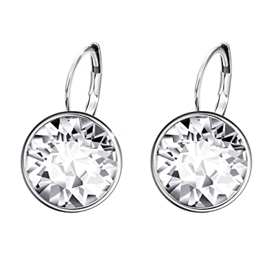 XUPING Jewellery Hoop Stud Earrings Jewellery for Women Crystals from  Swarovski (Crystal white) 7dad5fc8187a