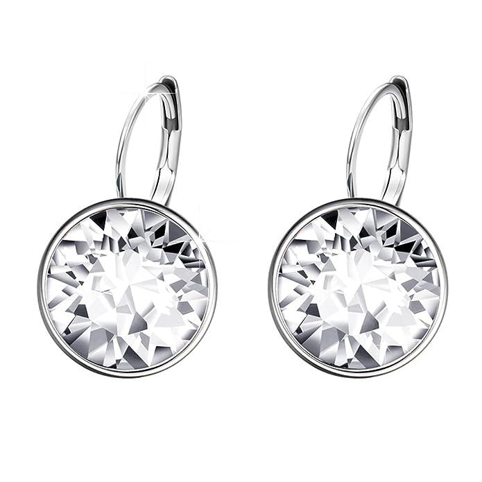 7377a1e69 XUPING Jewellery Hoop Stud Earrings Jewellery for Women Crystals from  Swarovski (Crystal white): Amazon.co.uk: Jewellery