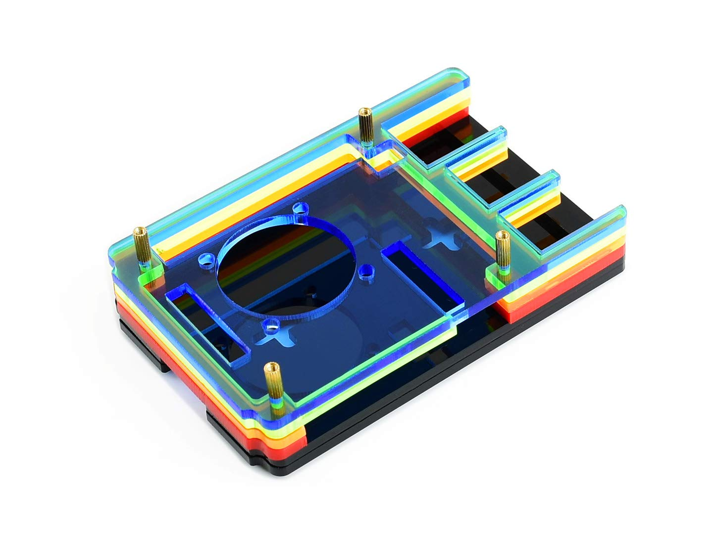 Waveshare Black White Acrylic Case for Raspberry Pi 4 Model B with Cooling Fan Dust Resistance Heat Spreading Easily Connecting Peripherals Camera