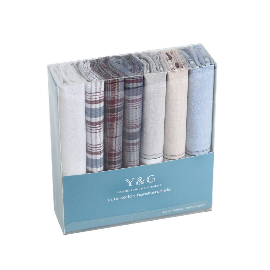YEC0214 Grey Blue Plaid Absolutely Handkerchief Cotton Elegant Presents 7 Pack Handkercheifs Set By Y&G