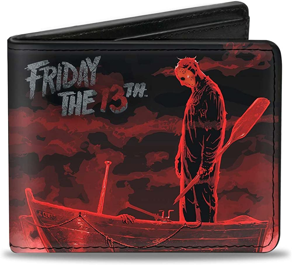 -Multi One Size Buckle-Down Mens Wallet Friday The 13th//Jason Boat Murder Black//Reds//White Accessory