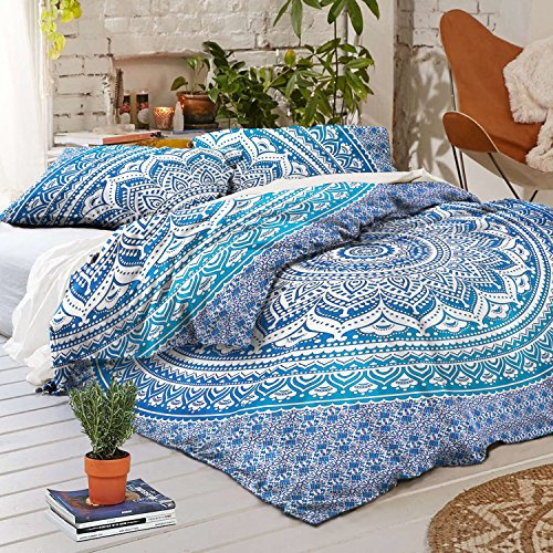 New Madhu International king Size Blue Ombre Mandala Duvet Cover, Bohemian Comforter Cover, Reversib...
