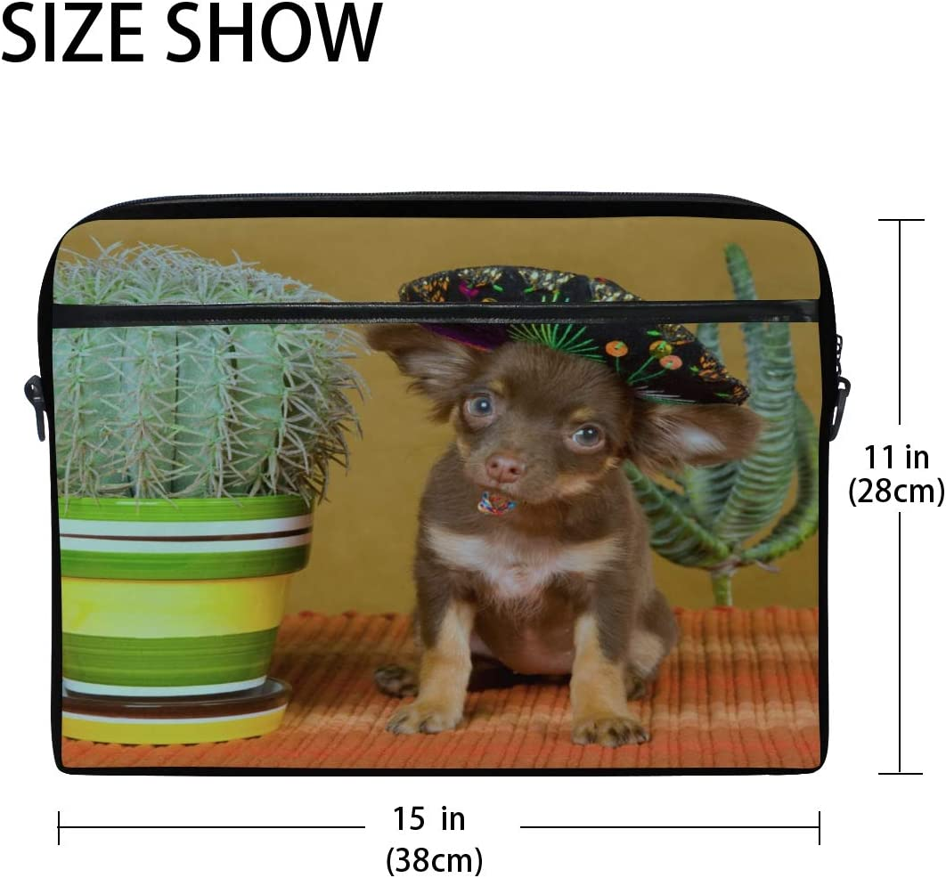 Briefcase Messenger Shoulder Bag for Men Women College Students Business People of Laptop Bag Chihuahua Hat Cactus On Gold 15-15.4 Inch Laptop Case