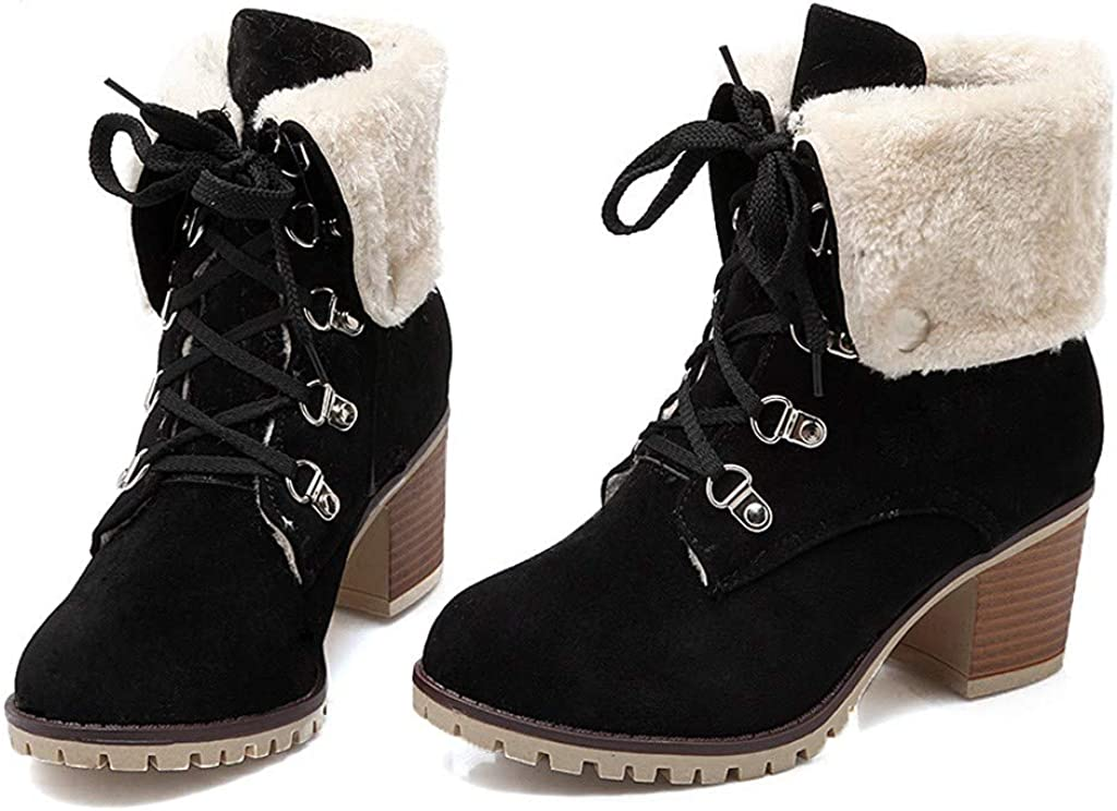Dainzuy Womens Classic Lace Up Buckle Ankle Boots Ladies Winter Suede Chunky Mid Heels Keep Warm Fur Snow Booties