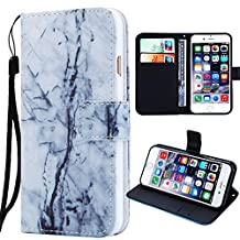 """iphone 6 Plus Flip Wallet Case for Women/Men,Auker Full Body Protective Folio Pu Leather Marble Retro Flower Print Hidden Book Wallet Stand Case with Card Holder&Strap for iphone 6s Plus 5.5"""" (#17)"""