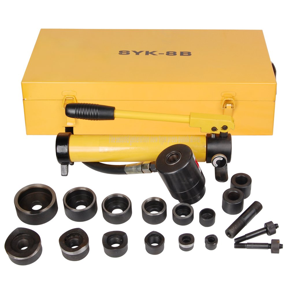 Yescom 10 Ton Hydraulic Knockout Punch Hole Driver Kit Complete Tool Set with 6 Dies