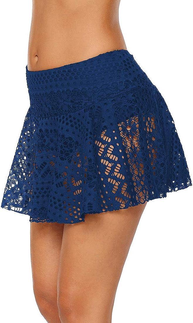Womens Lace Hollow Out Swimsuit Tankini Bottom Swim Board Shorts