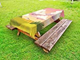 Lunarable Landscape Outdoor Tablecloth, Farmland Cartoon in Summer Season Green Forest and Barn House Agriculture Pattern, Decorative Washable Picnic Table Cloth, 58 X 104 Inches, Multicolor