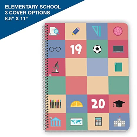 Dated Elementary Student Planner 2019-2020 School Year, 8.5x11 inch Matrix Style Datebook with Create Iconic Cover