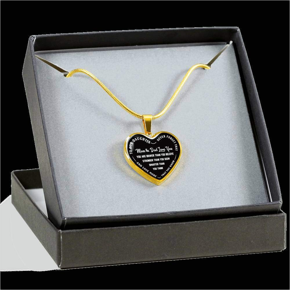 to Our Daughter Heart Pendant Chain Dad /& Mom Love You Necklace Luxury Adjustable 18-22 Chain Never Forget That Best Gift for Girl Child