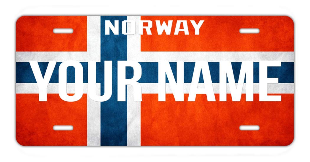 BRGiftShop Personalize Your Own License Norway Flag Country Plate Car Vehicle 6x12 Tag