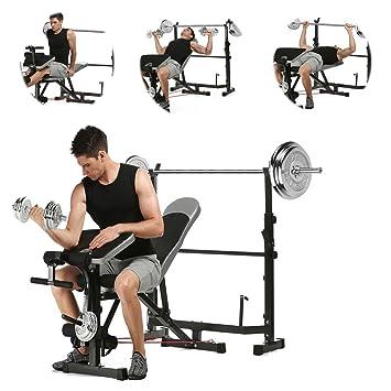Banco de pesas multifunción altura ajustable de musculación para interior ejercicio (US stock): Amazon.es: Deportes y aire libre