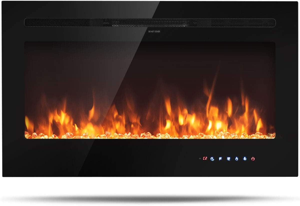 """Tangkula 36"""" Electric Fireplace, in-Wall Recessed and Wall Mounted 750W/1500W, Fireplace Heater, Touch Screen Control Panel, 9 Flamer Color, Temperature Control&Timer Crystal Heater (36 inches)"""