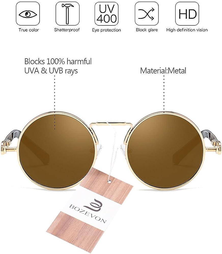 BOZEVON Lunettes de soleil en m/étal rond Steampunk avec protection UV 400 pour femmes et hommes