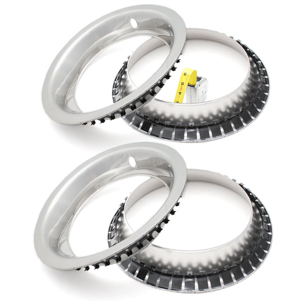 15 Inch Wheel Hub Chrome Beauty Ring Covers Pack of 4 OxGord Trim Rings for Chevy GM