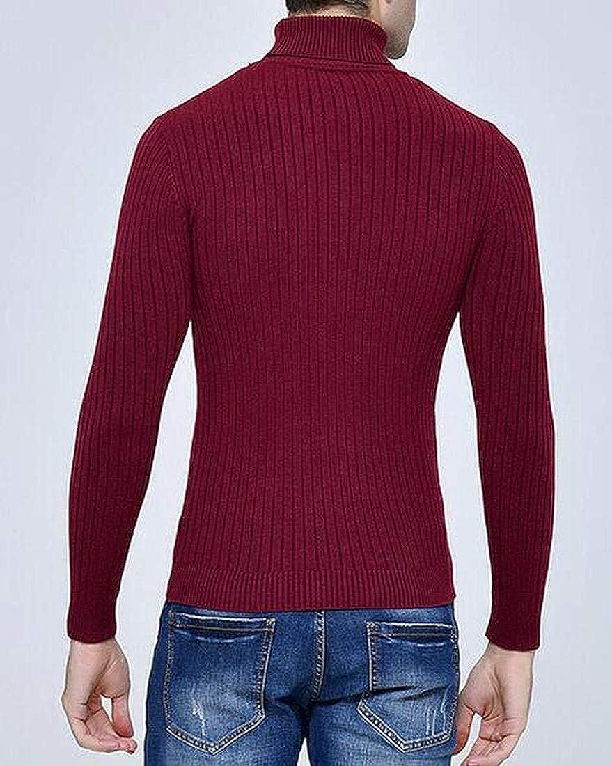 BYWX Men Slim Pullover Jacquard Turtleneck Knit Solid Color Jumper Sweater