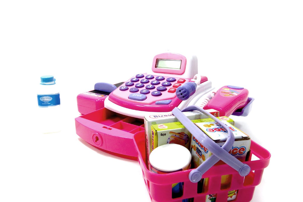 Chi Mercantile Fancy Pink Complete Realistic Cash Register with Microphone Conveyor Belt Scanner Assorted Groceries Play Money and Shopping Basket by Chi Mercantile (Image #4)