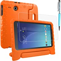 AFUNTA Funda Protectora para Samsung Galaxy Tab E 9.6 SM-T560 SM-T561 con Protector de Pantalla y lápiz óptico, Funda Antiderrapante con Soporte Giratorio EVA para Tableta 9.6 Pulgadas - Naranja