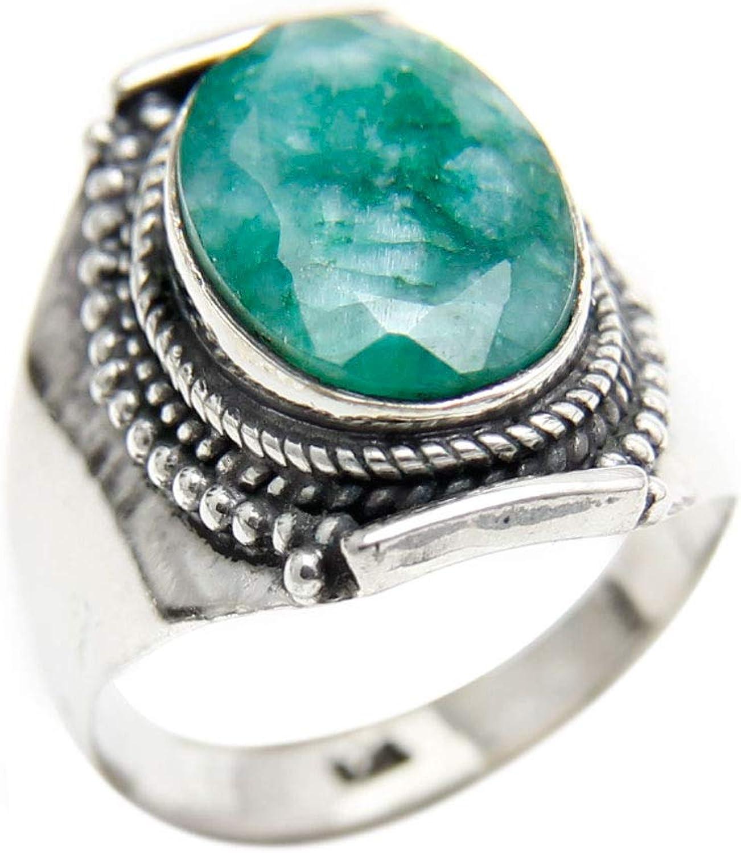 Agathe Creation BA062022 - Anillo de plata 925 (con sello) adornado con una piedra india, esmeralda verde, hecho a mano
