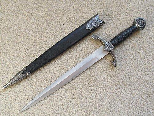 Prince Dagger - S0068 ANTIQUE SILVER CELTIC MEDIEVAL KNIGHT BLACK PRINCE SWORD DAGGER 13.8
