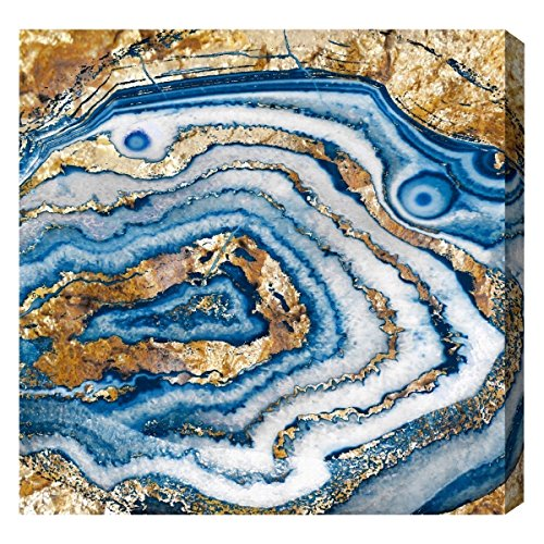 Bleu Agate by Oliver Gal | Modern Premium Canvas Art Print. The Abstract Wall Art Decor Collection. 12x12 inch, ()