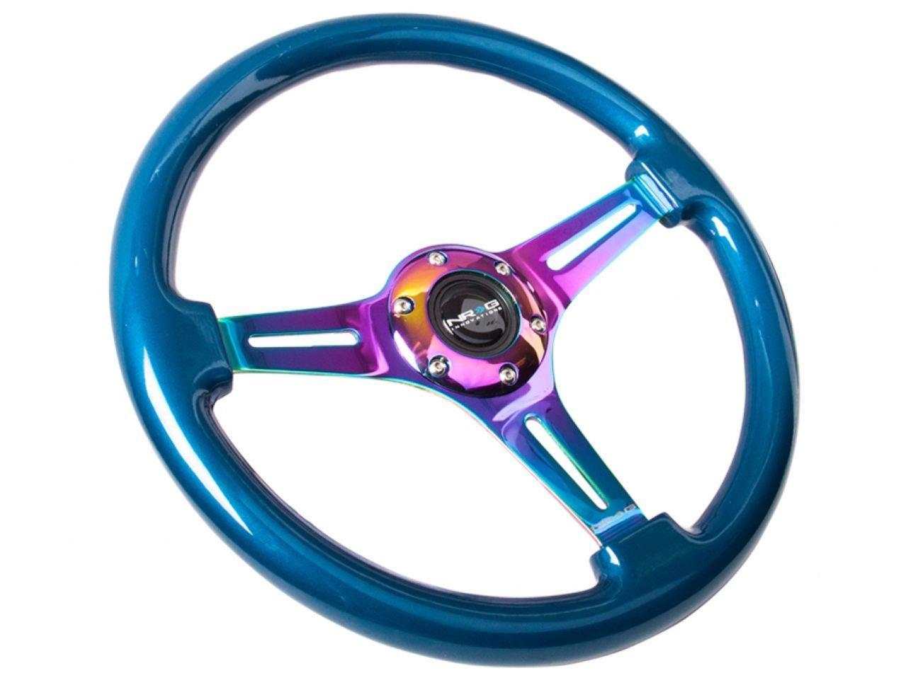 3 Spoke Center in NEO Chrome Steering Wheel NRG Innovations Blue Wood Wheel 350mm