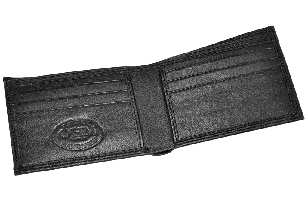 One Size Black OHM Leather New York Two in One Wallet