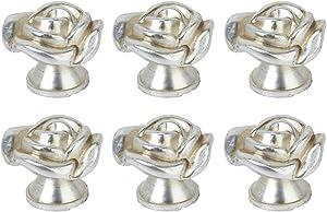 Joyindecor Shabby Chic Rose Cabinet Knobs - Heavy Duty Zinc Alloy Antique Flower Drawer Pulls Handles for Kitchen Home Dresser Vanity Nightstand Wardrobe Cupboard Closet, 6 Pack (Silver)