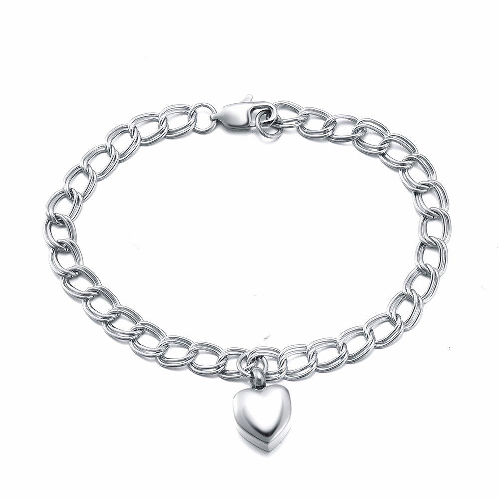 Memorial Jewelry Love Heart Charm Urn Pendant Bracelet Ash Keepsake Cremation Jewelry Chain Bangle XSMjewelry INC IJD5010-EM