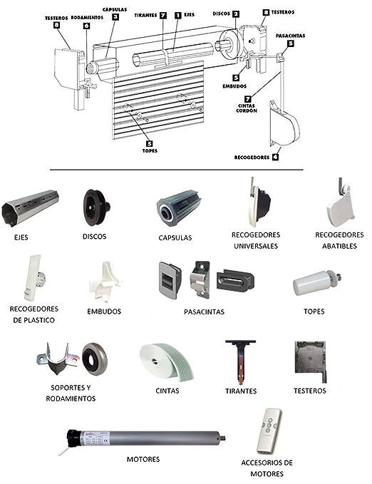 IUNCI 040.007 Recogedor persiana universal C/18, color blanco con placa aluminio atornillada: Amazon.es: Bricolaje y herramientas